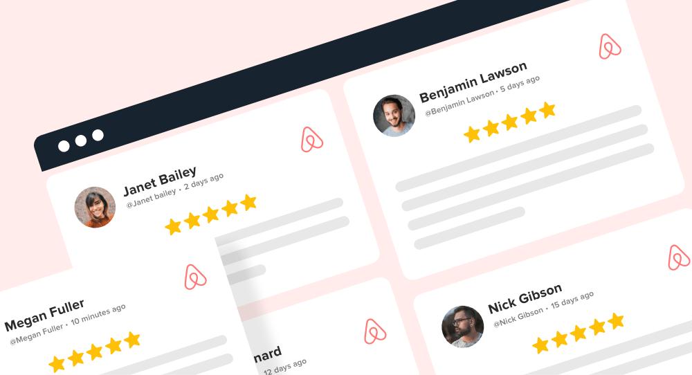 Airbnb customer reviews on website