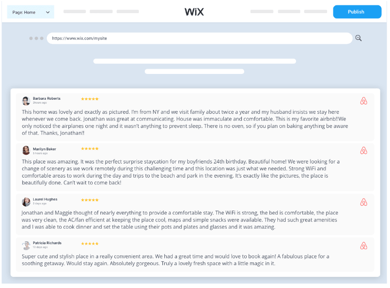 Taggbox Airbnb Reviews Widget On wix
