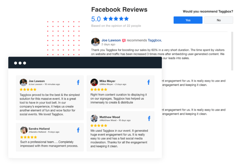 Facebook reviews widget for website