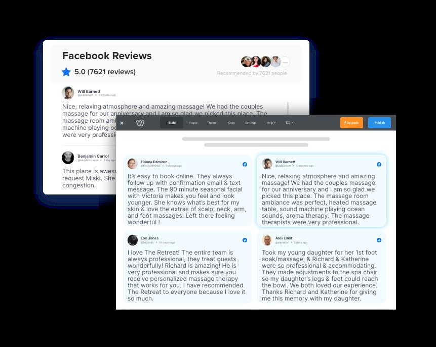 facebook reviews widget on weebly