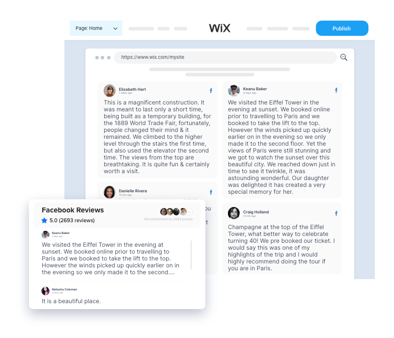 Embed facebook Reviews On Wix