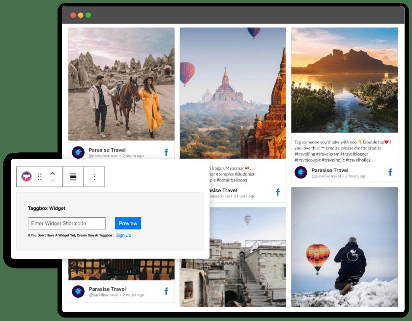 Taggbox airbnb reviews widget on wordpress