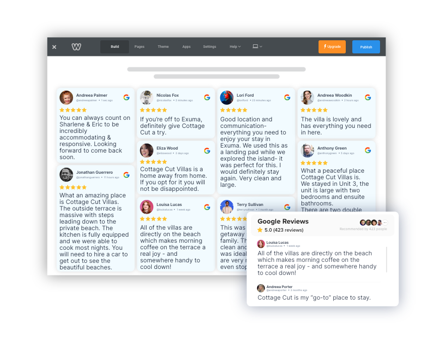 google reviews widget on weebly