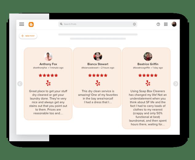 Taggbox yelp Reviews widget on blogger