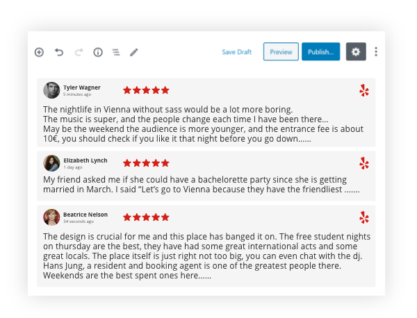 Taggbox yelp Reviews Widget On wix